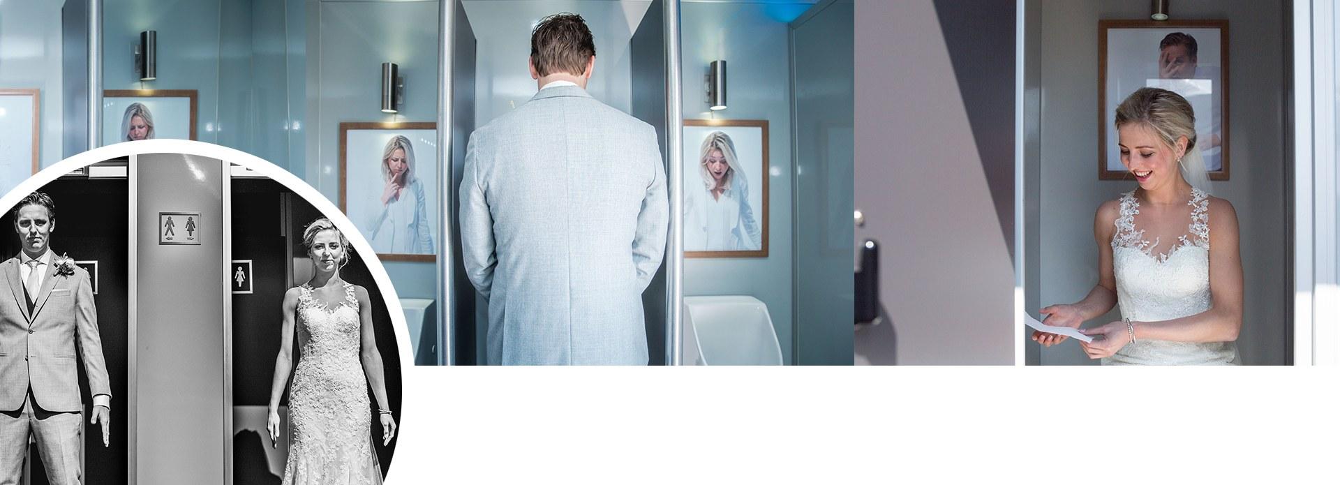 Luxe toiletwagen binnenkant bruiloft