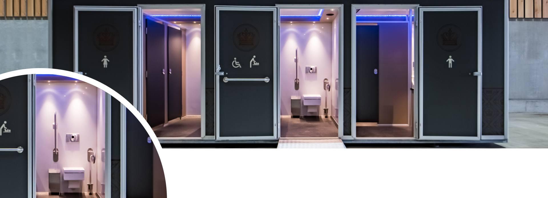 Luxe toiletwagen binnenkant